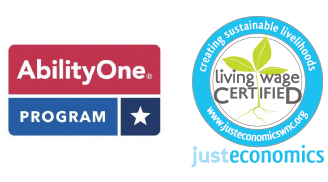 Living Wage Certified logo from Just Economics certifying TVS as a Brevard local business