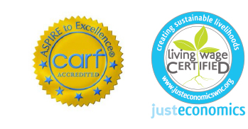 CARF and Living Wage Certified logos for disability programs and inclusive workforce