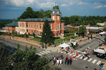 Photo of the Brevard courthouse in downtown during celebration.